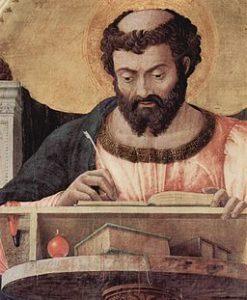 St. Lucas, Detail eines Altargemäldes von Andrea Mantegna (1430/31 - 1506)